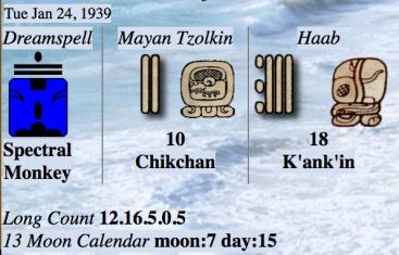 1939-1-24 ~ 2018-1-29 : 28860 días = 111 Tzolkins